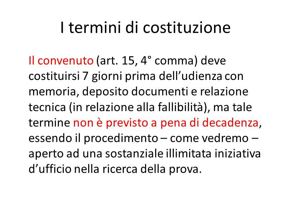 I termini di costituzione Il convenuto (art. 15, 4° comma) deve costituirsi 7 giorni prima dell'udienza con memoria, deposito documenti e relazione te