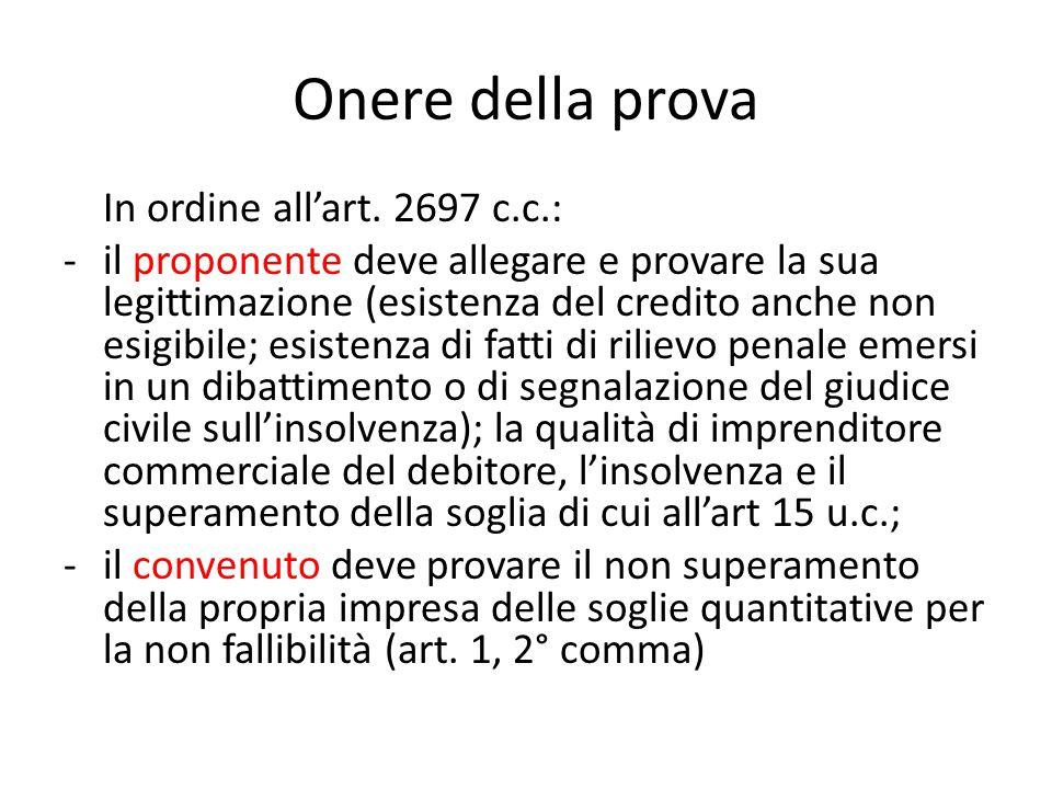 Onere della prova In ordine all'art. 2697 c.c.: -il proponente deve allegare e provare la sua legittimazione (esistenza del credito anche non esigibil