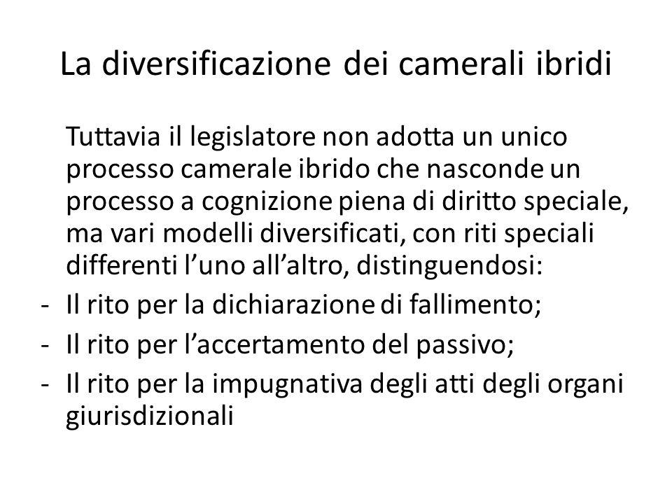 La diversificazione dei camerali ibridi Tuttavia il legislatore non adotta un unico processo camerale ibrido che nasconde un processo a cognizione pie