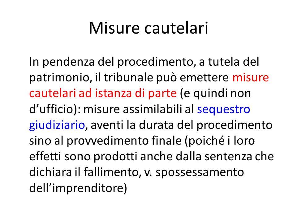 Misure cautelari In pendenza del procedimento, a tutela del patrimonio, il tribunale può emettere misure cautelari ad istanza di parte (e quindi non d