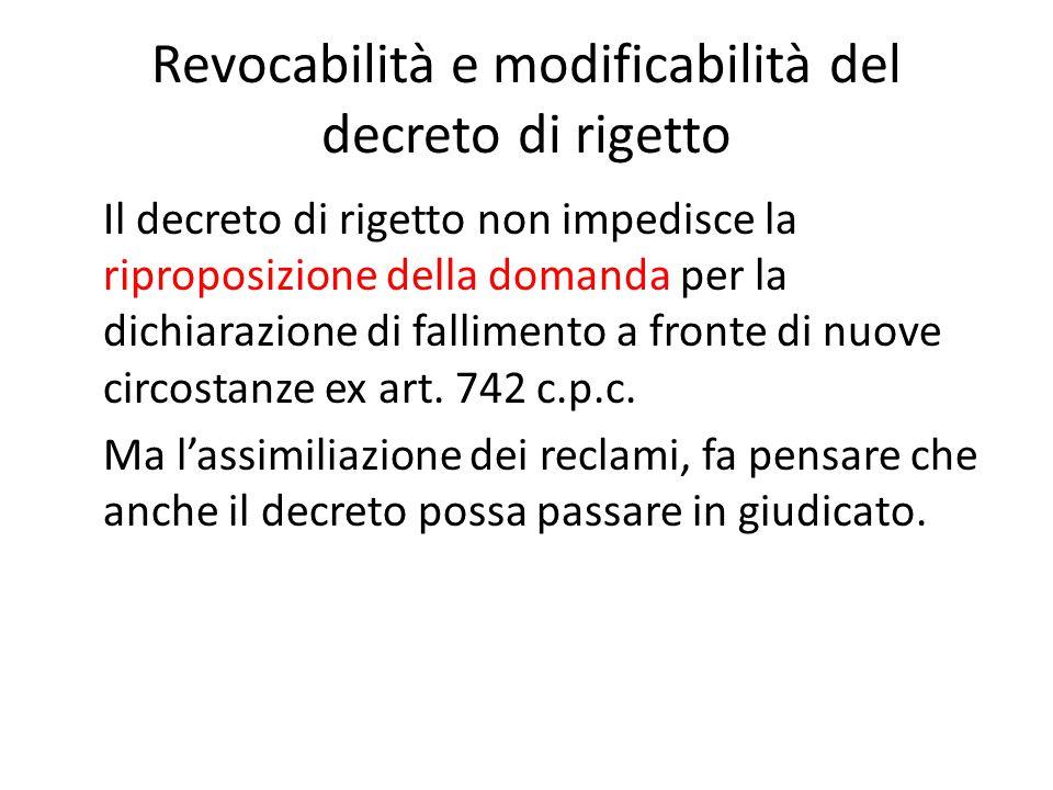 Revocabilità e modificabilità del decreto di rigetto Il decreto di rigetto non impedisce la riproposizione della domanda per la dichiarazione di falli
