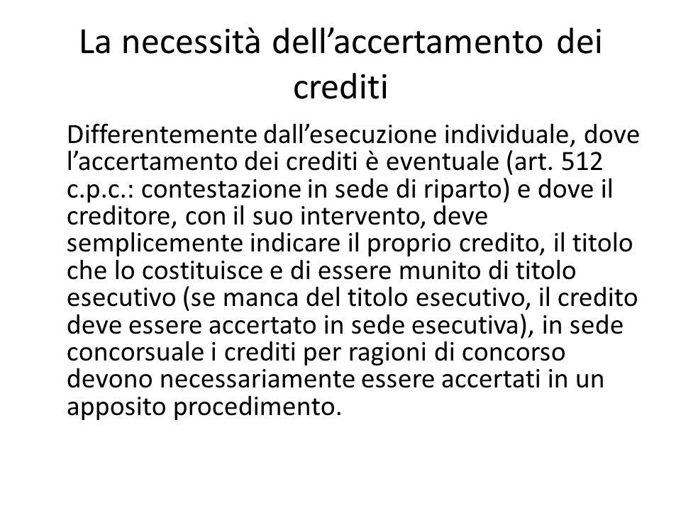 La necessità dell'accertamento dei crediti Differentemente dall'esecuzione individuale, dove l'accertamento dei crediti è eventuale (art. 512 c.p.c.: