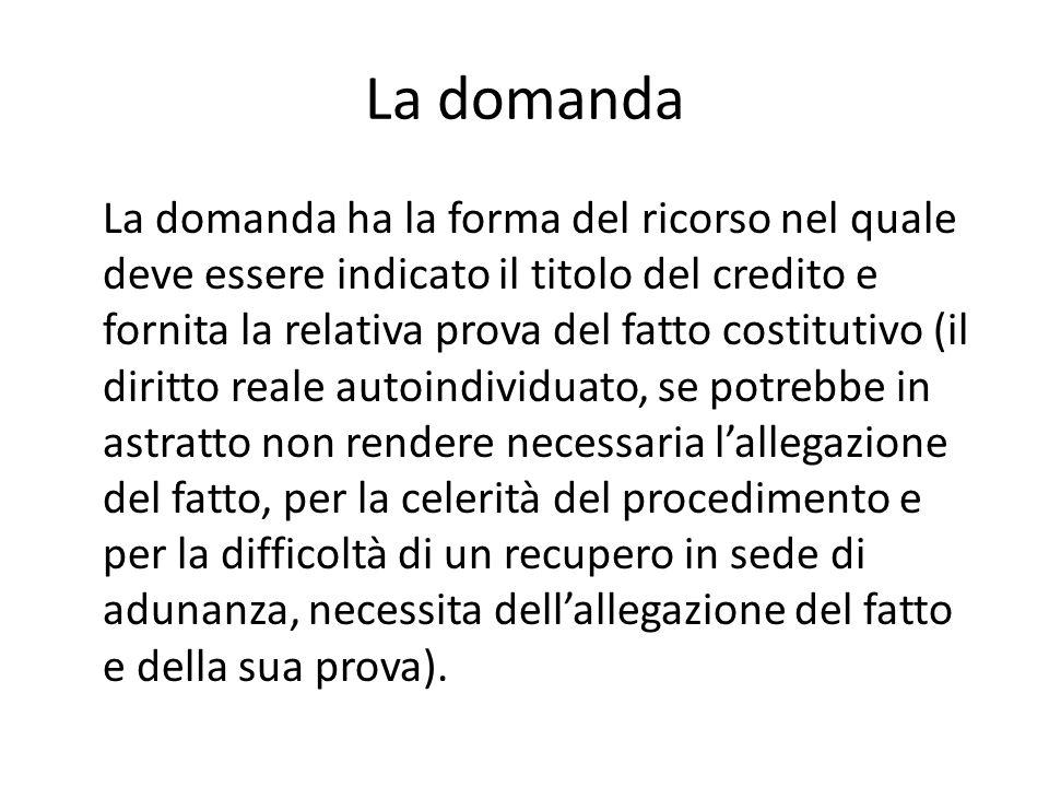 La domanda La domanda ha la forma del ricorso nel quale deve essere indicato il titolo del credito e fornita la relativa prova del fatto costitutivo (