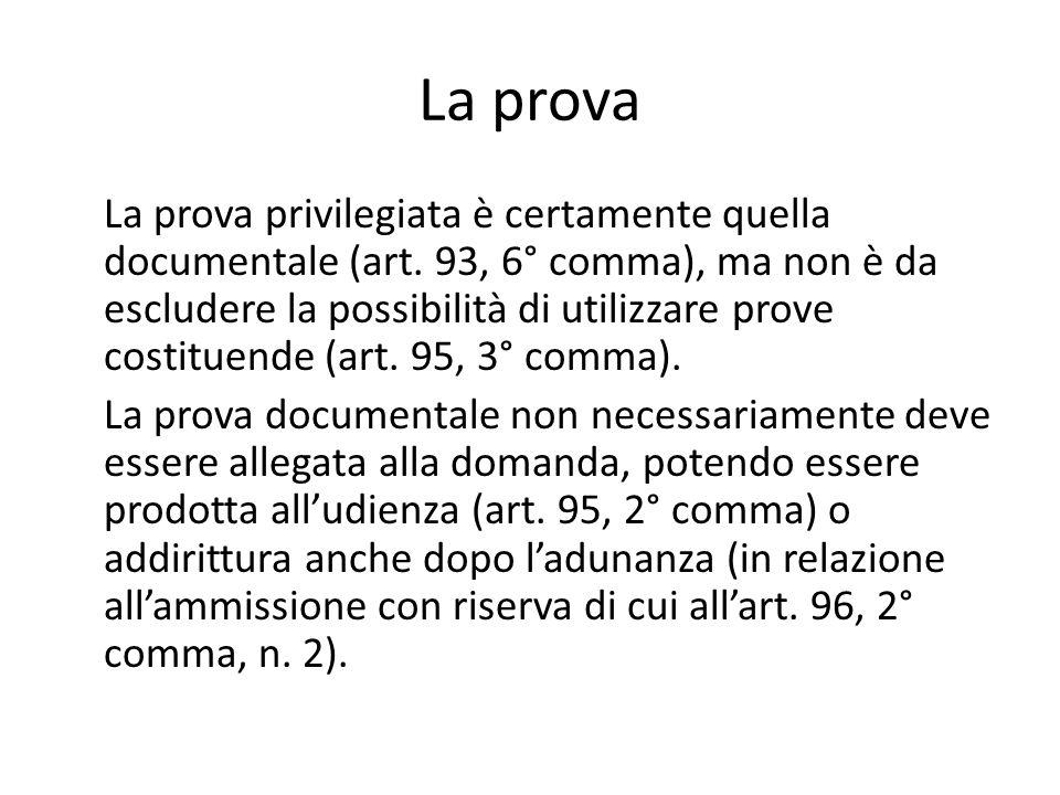 La prova La prova privilegiata è certamente quella documentale (art. 93, 6° comma), ma non è da escludere la possibilità di utilizzare prove costituen