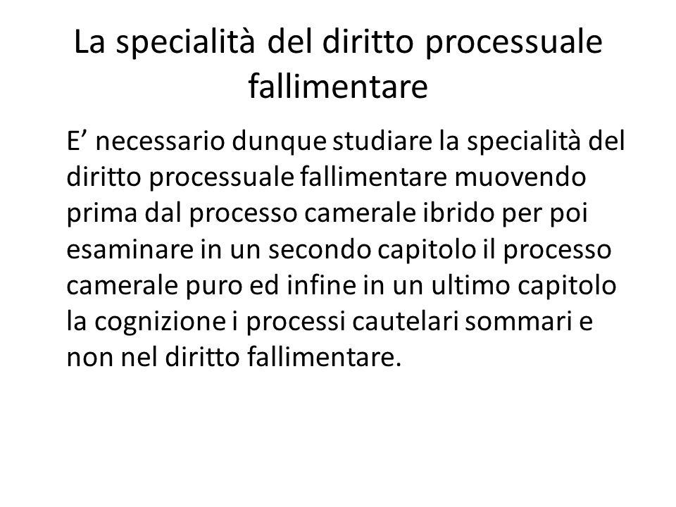 La specialità del diritto processuale fallimentare E' necessario dunque studiare la specialità del diritto processuale fallimentare muovendo prima dal