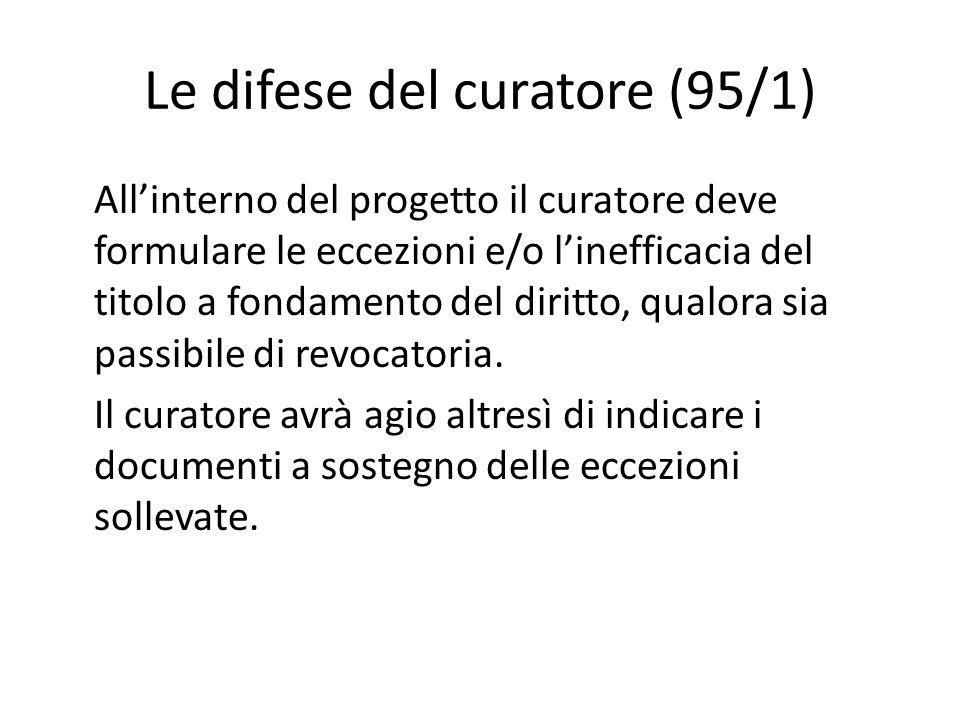 Le difese del curatore (95/1) All'interno del progetto il curatore deve formulare le eccezioni e/o l'inefficacia del titolo a fondamento del diritto,