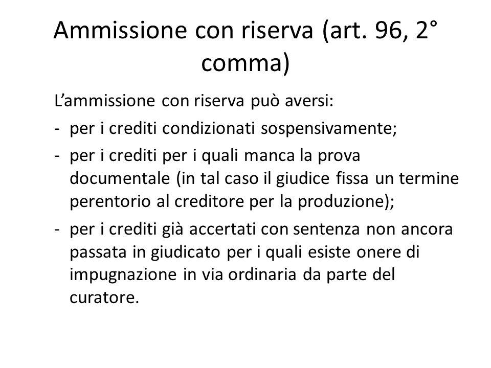 Ammissione con riserva (art. 96, 2° comma) L'ammissione con riserva può aversi: -per i crediti condizionati sospensivamente; -per i crediti per i qual