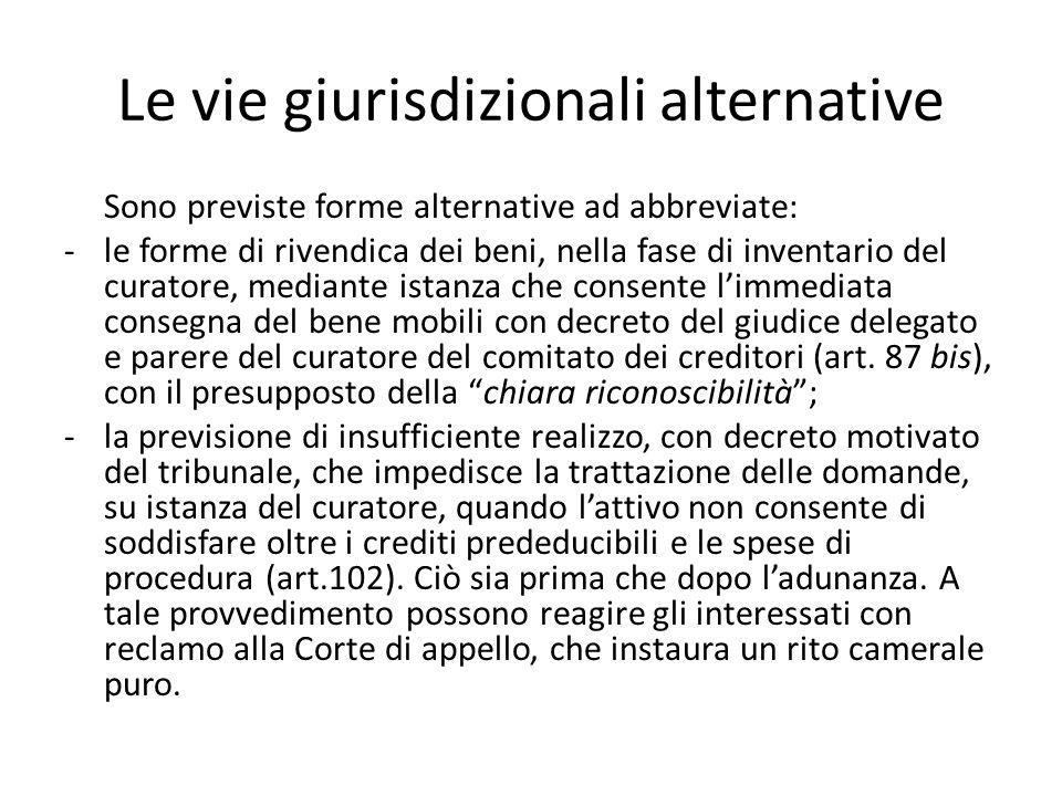 Le vie giurisdizionali alternative Sono previste forme alternative ad abbreviate: -le forme di rivendica dei beni, nella fase di inventario del curato