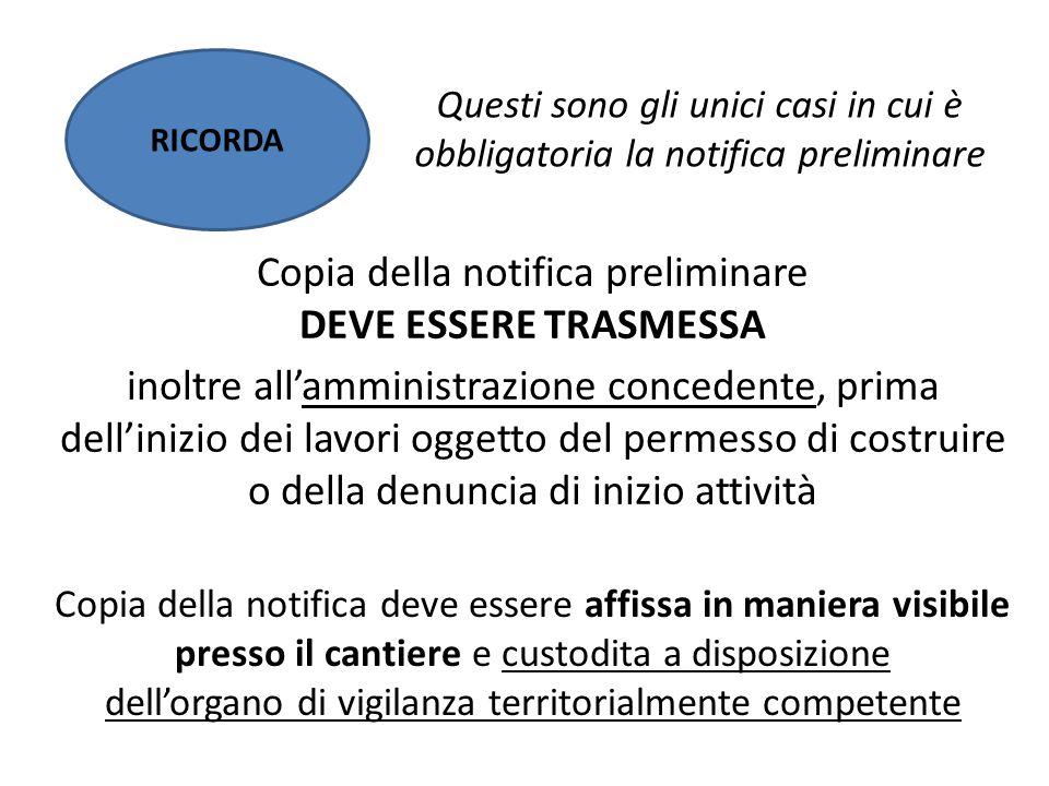RICORDA Copia della notifica deve essere affissa in maniera visibile presso il cantiere e custodita a disposizione dell'organo di vigilanza territoria