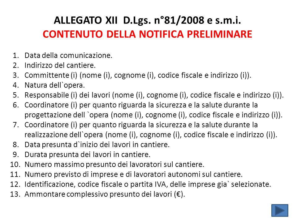 ALLEGATO XII D.Lgs. n°81/2008 e s.m.i. CONTENUTO DELLA NOTIFICA PRELIMINARE 1.Data della comunicazione. 2.Indirizzo del cantiere. 3.Committente (i) (n