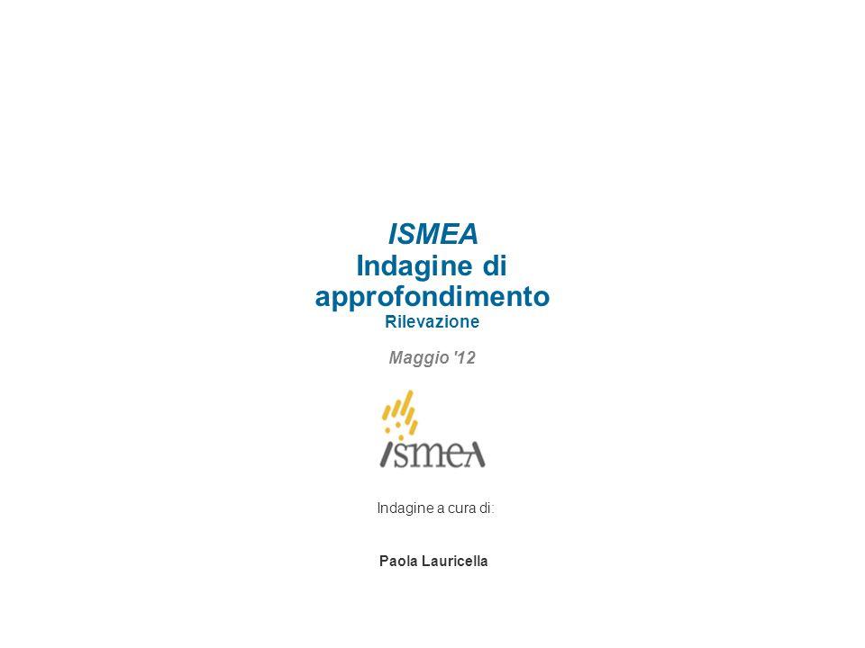 ISMEA Indagine di approfondimento Rilevazione Maggio 12 Indagine a cura di: Paola Lauricella
