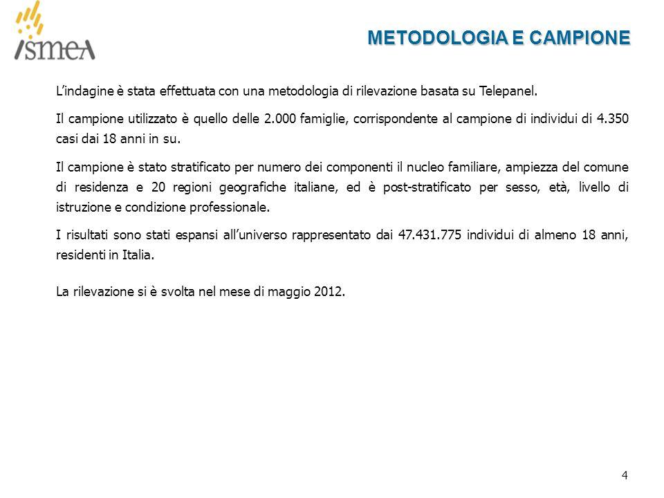4 METODOLOGIA E CAMPIONE L'indagine è stata effettuata con una metodologia di rilevazione basata su Telepanel.