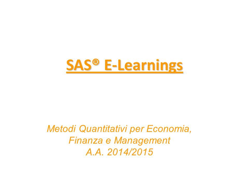 SAS E-Learning I SAS E-Learning sono moduli di autoformazione in modalità e-learning, a cui è possibile accedere gratuitamente, con validità pari ad un anno.