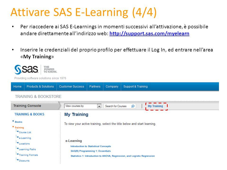 Attivare SAS E-Learning (4/4) Per riaccedere ai SAS E-Learnings in momenti successivi all'attivazione, è possibile andare direttamente all'indirizzo w
