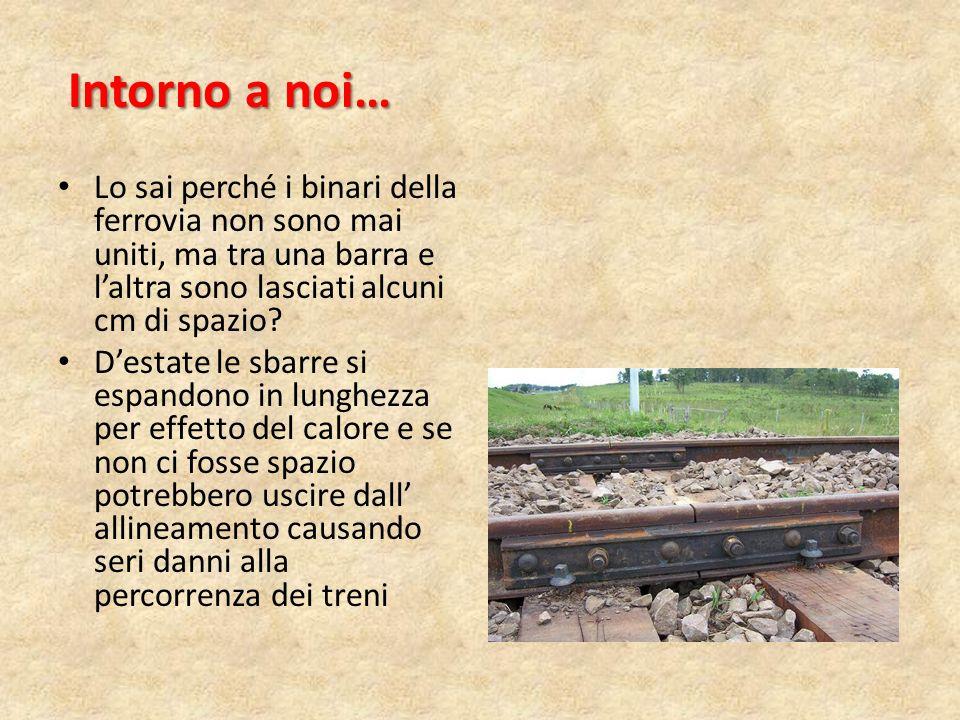 Intorno a noi… Lo sai perché i binari della ferrovia non sono mai uniti, ma tra una barra e l'altra sono lasciati alcuni cm di spazio? D'estate le sba
