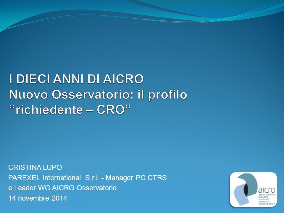 CRISTINA LUPO PAREXEL International S.r.l. - Manager PC CTRS e Leader WG AICRO Osservatorio 14 novembre 2014