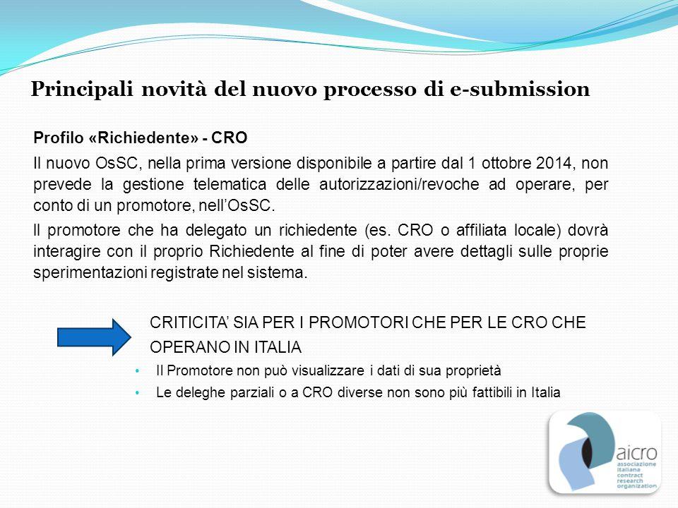 Profilo «Richiedente» - CRO Il nuovo OsSC, nella prima versione disponibile a partire dal 1 ottobre 2014, non prevede la gestione telematica delle aut