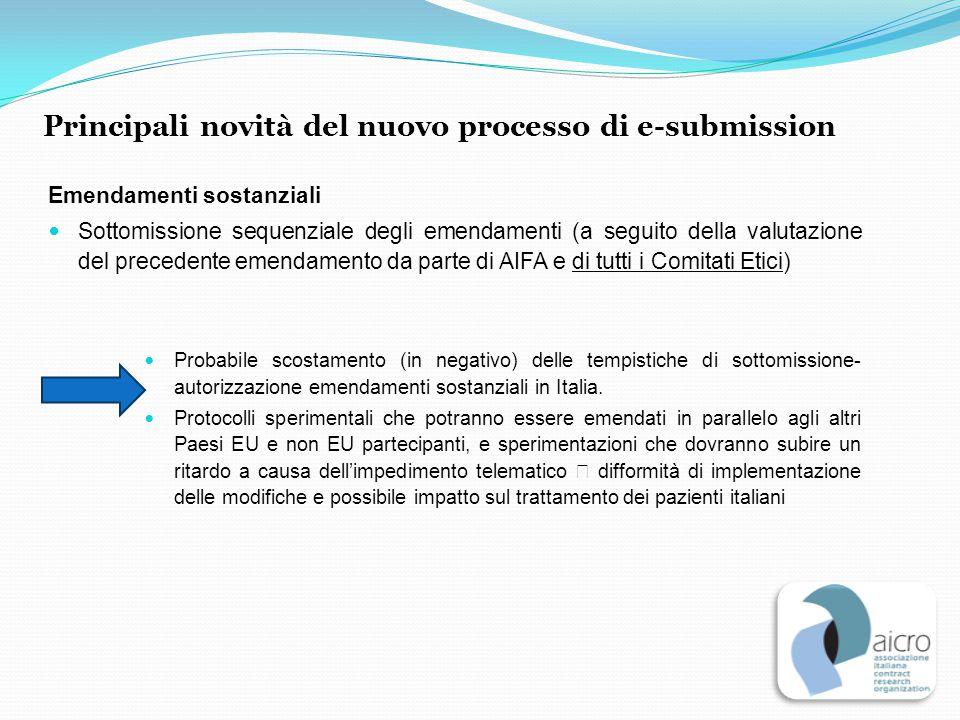 Emendamenti sostanziali Sottomissione sequenziale degli emendamenti (a seguito della valutazione del precedente emendamento da parte di AIFA e di tutt