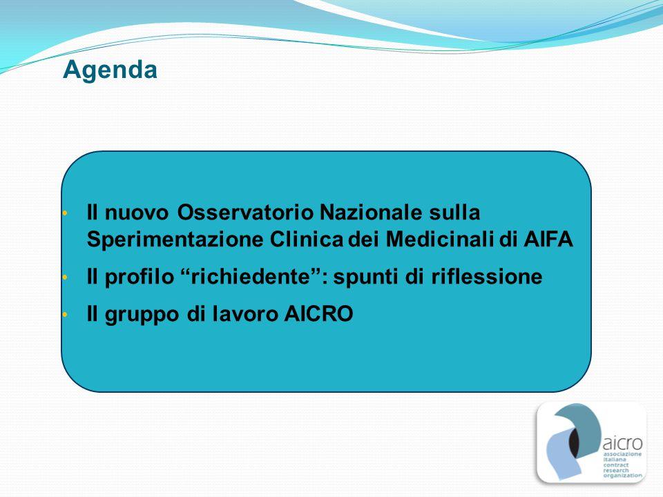 """Agenda Il nuovo Osservatorio Nazionale sulla Sperimentazione Clinica dei Medicinali di AIFA Il profilo """"richiedente"""": spunti di riflessione Il gruppo"""