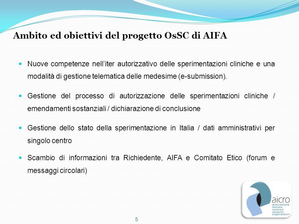Nuove competenze nell'iter autorizzativo delle sperimentazioni cliniche e una modalità di gestione telematica delle medesime (e-submission). Gestione
