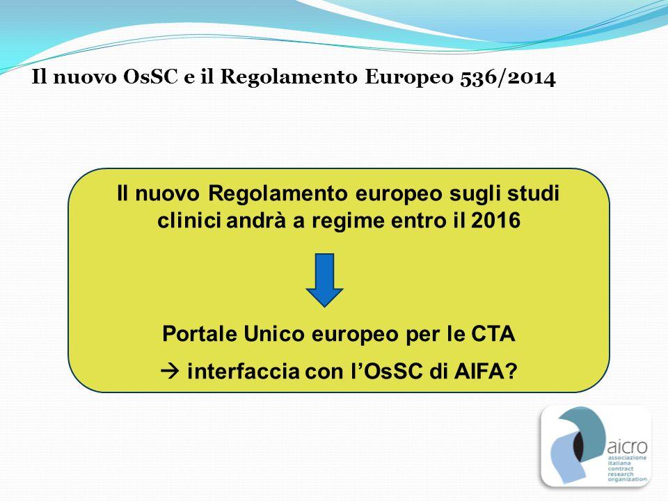 Il nuovo OsSC e il Regolamento Europeo 536/2014 Il nuovo Regolamento europeo sugli studi clinici andrà a regime entro il 2016 Portale Unico europeo pe