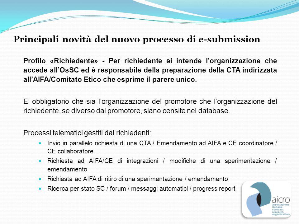 Profilo «Richiedente» - Per richiedente si intende l'organizzazione che accede all'OsSC ed è responsabile della preparazione della CTA indirizzata all