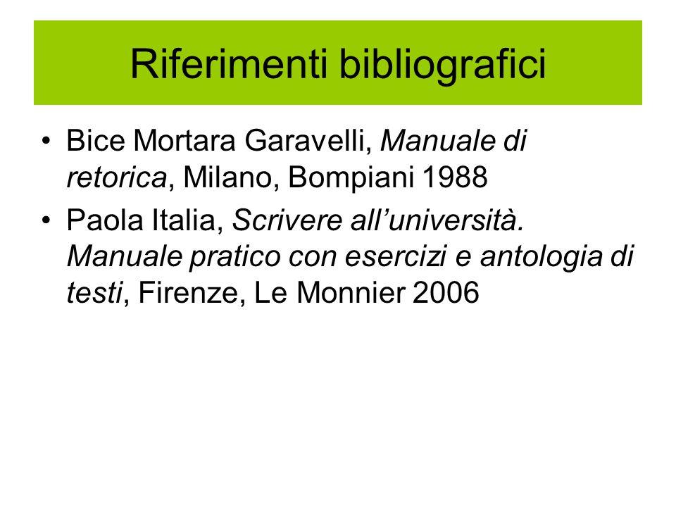 Riferimenti bibliografici Bice Mortara Garavelli, Manuale di retorica, Milano, Bompiani 1988 Paola Italia, Scrivere all'università. Manuale pratico co