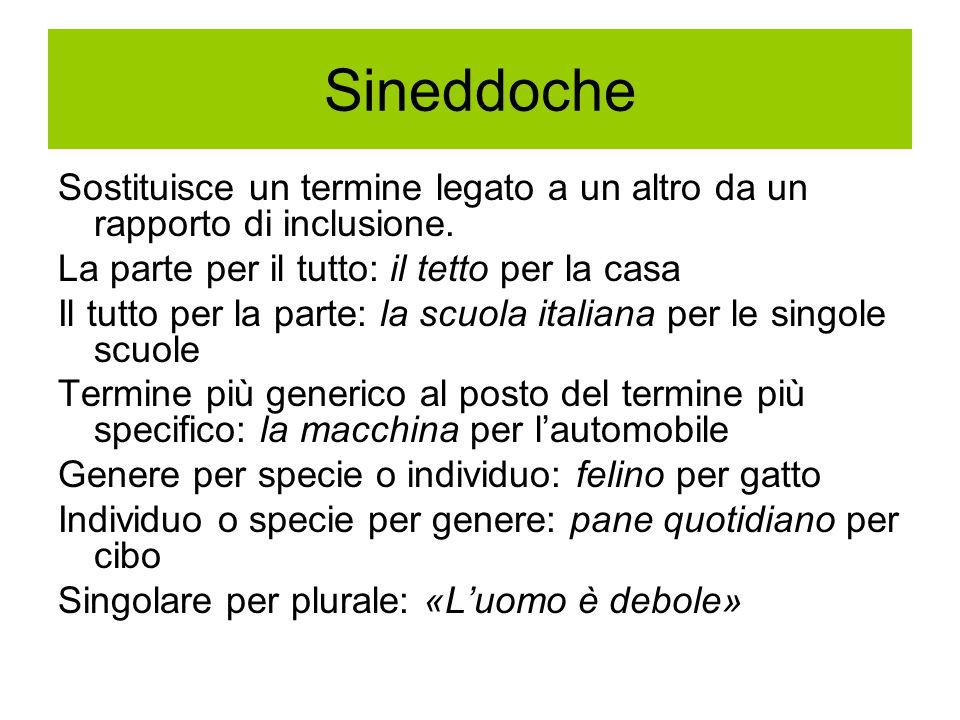 Sineddoche Sostituisce un termine legato a un altro da un rapporto di inclusione. La parte per il tutto: il tetto per la casa Il tutto per la parte: l