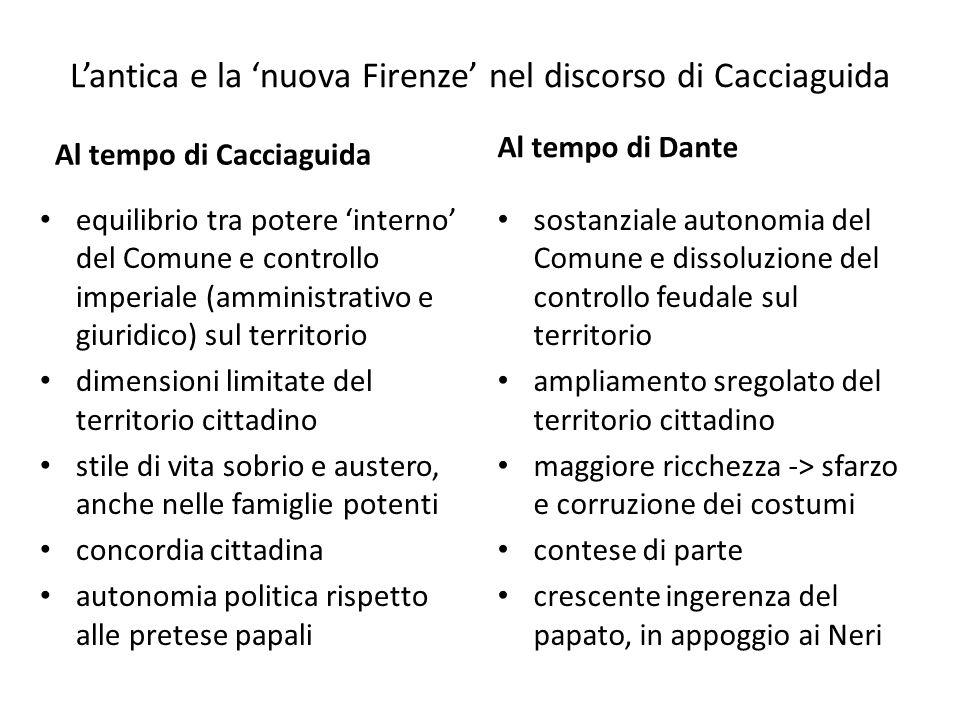 L'antica e la 'nuova Firenze' nel discorso di Cacciaguida Al tempo di Cacciaguida equilibrio tra potere 'interno' del Comune e controllo imperiale (am