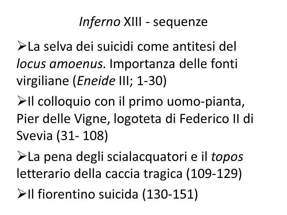Inferno XIII - sequenze  La selva dei suicidi come antitesi del locus amoenus. Importanza delle fonti virgiliane (Eneide III; 1-30)  Il colloquio co