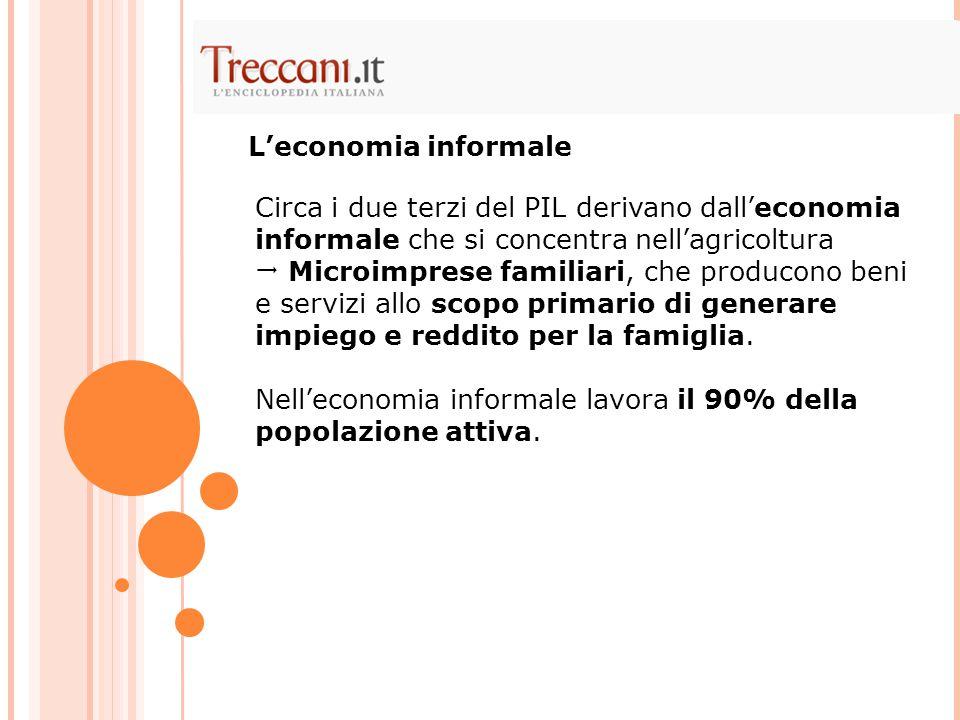 Circa i due terzi del PIL derivano dall'economia informale che si concentra nell'agricoltura  Microimprese familiari, che producono beni e servizi allo scopo primario di generare impiego e reddito per la famiglia.