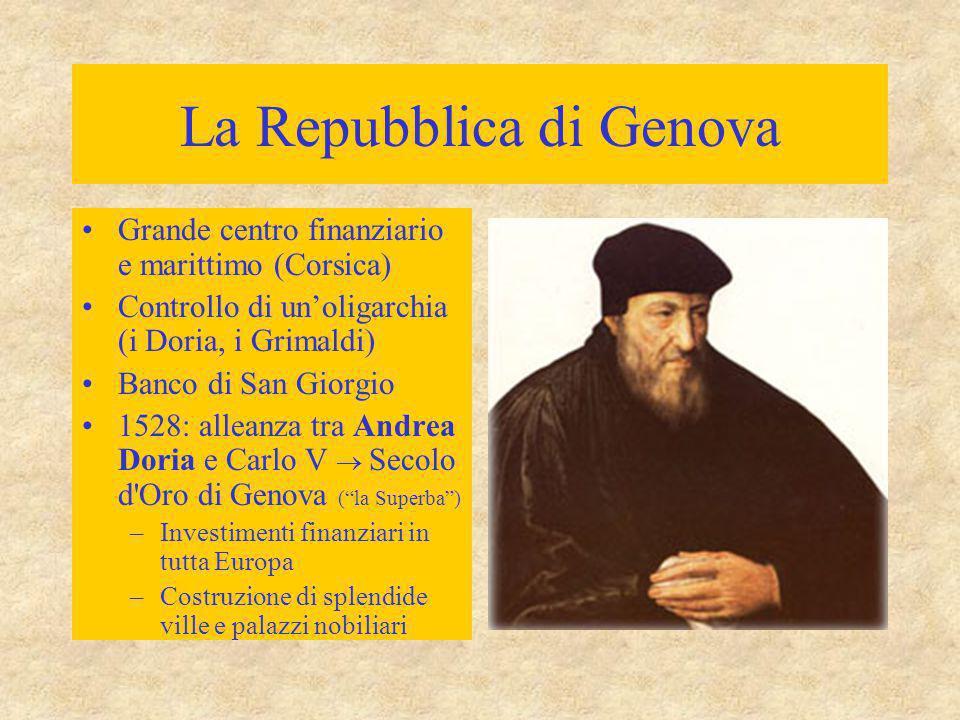 La Repubblica di Genova Grande centro finanziario e marittimo (Corsica) Controllo di un'oligarchia (i Doria, i Grimaldi) Banco di San Giorgio 1528: al