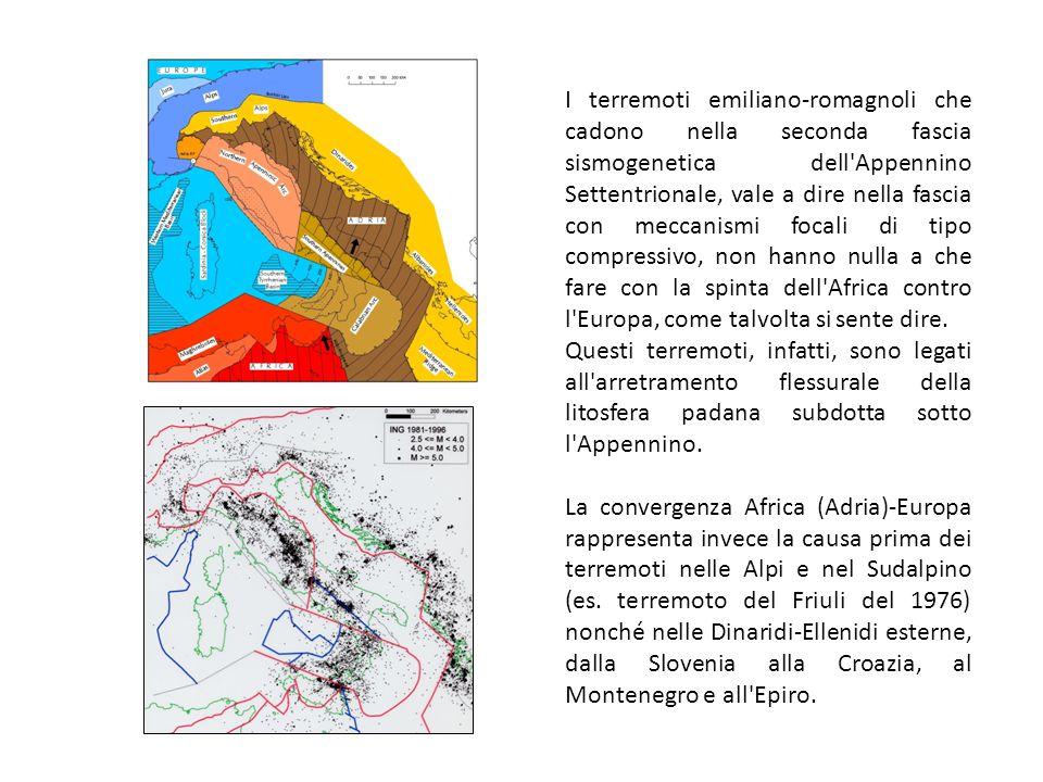 I terremoti emiliano-romagnoli che cadono nella seconda fascia sismogenetica dell'Appennino Settentrionale, vale a dire nella fascia con meccanismi fo