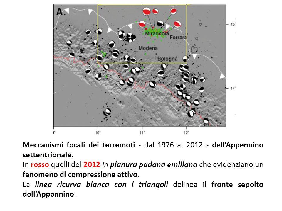 Meccanismi focali dei terremoti - dal 1976 al 2012 - dell'Appennino settentrionale. In rosso quelli del 2012 in pianura padana emiliana che evidenzian