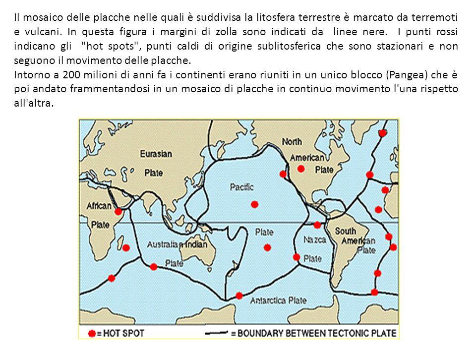 Il mosaico delle placche nelle quali è suddivisa la litosfera terrestre è marcato da terremoti e vulcani. In questa figura i margini di zolla sono ind