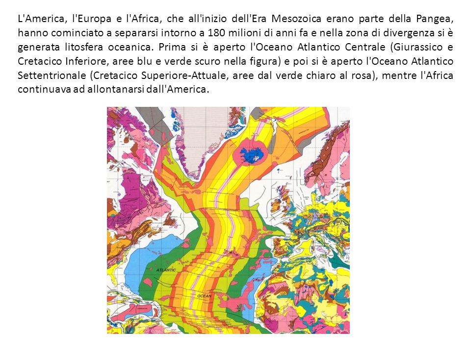 L'America, l'Europa e l'Africa, che all'inizio dell'Era Mesozoica erano parte della Pangea, hanno cominciato a separarsi intorno a 180 milioni di anni