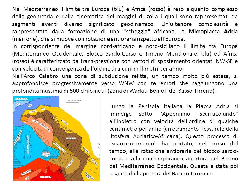 Nel Mediterraneo il limite tra Europa (blu) e Africa (rosso) è reso alquanto complesso dalla geometria e dalla cinematica dei margini di zolla i quali