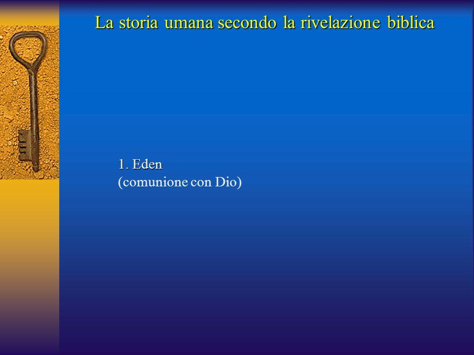 1. Eden (comunione con Dio) La storia umana secondo la rivelazione biblica