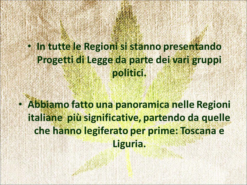 In tutte le Regioni si stanno presentando Progetti di Legge da parte dei vari gruppi politici.