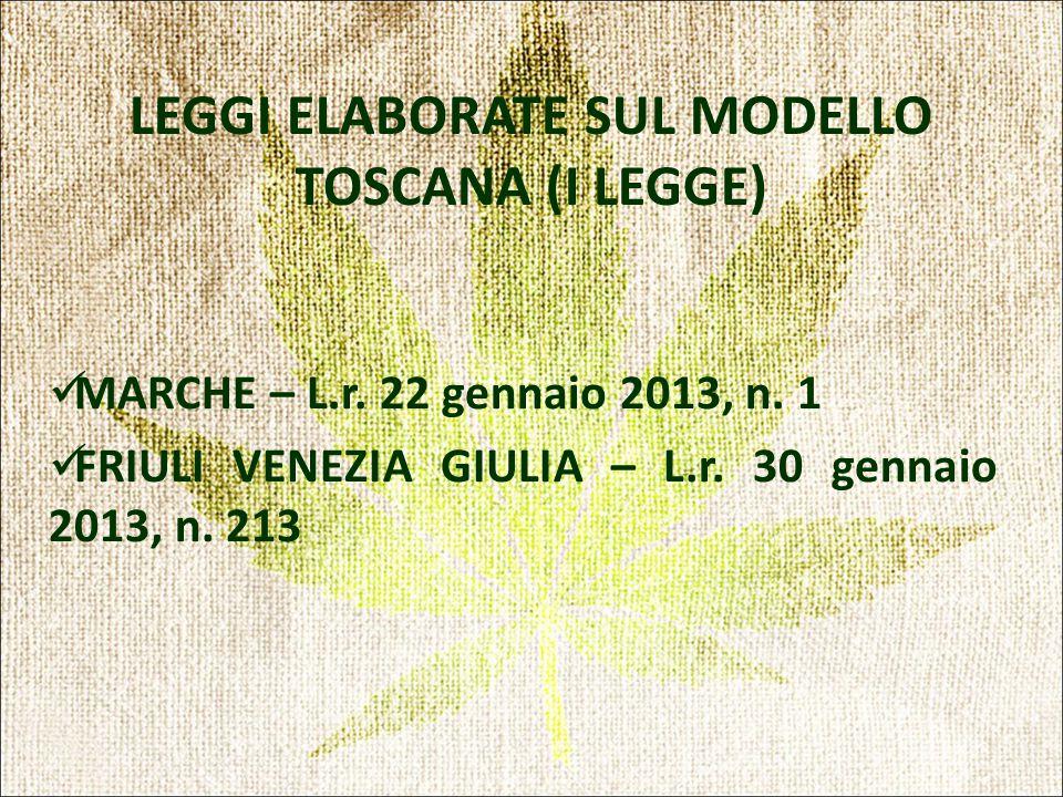 LEGGI ELABORATE SUL MODELLO TOSCANA (I LEGGE) MARCHE – L.r.