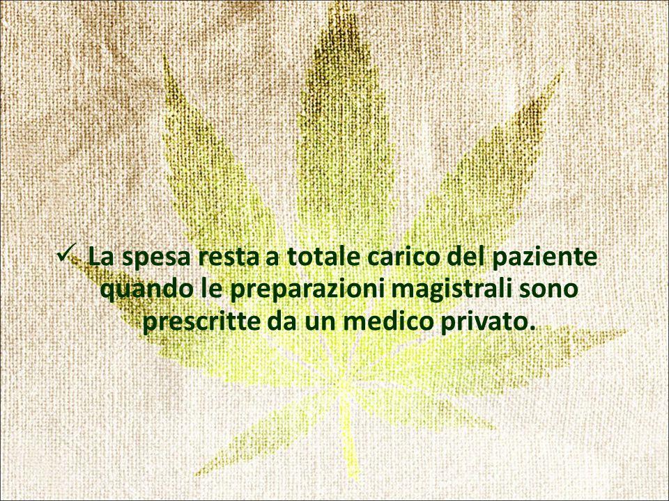 La spesa resta a totale carico del paziente quando le preparazioni magistrali sono prescritte da un medico privato.