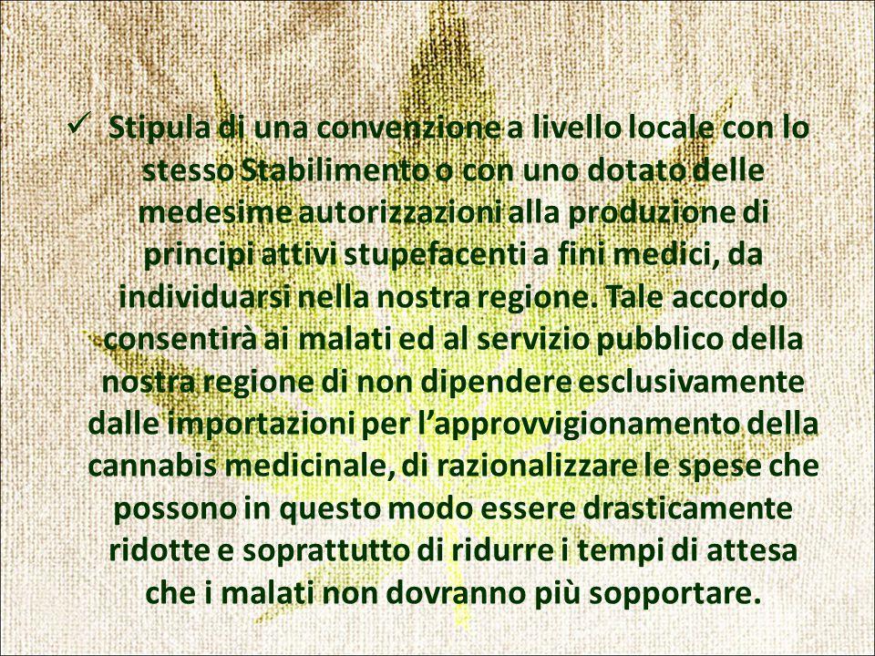 Stipula di una convenzione a livello locale con lo stesso Stabilimento o con uno dotato delle medesime autorizzazioni alla produzione di principi attivi stupefacenti a fini medici, da individuarsi nella nostra regione.