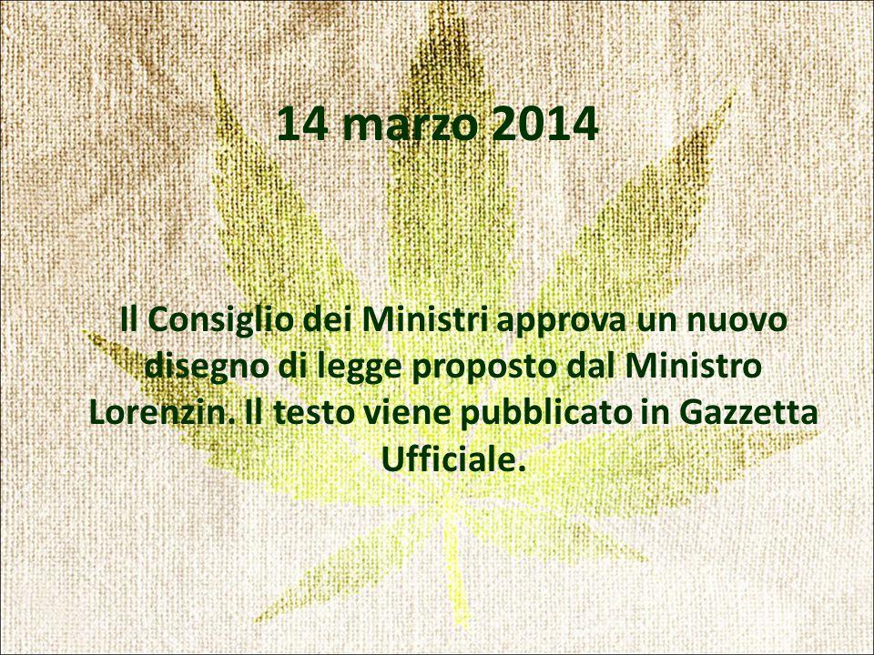 14 marzo 2014 Il Consiglio dei Ministri approva un nuovo disegno di legge proposto dal Ministro Lorenzin.