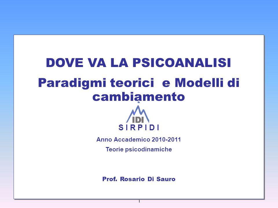 1 DOVE VA LA PSICOANALISI Paradigmi teorici e Modelli di cambiamento DOVE VA LA PSICOANALISI Paradigmi teorici e Modelli di cambiamento S I R P I D I