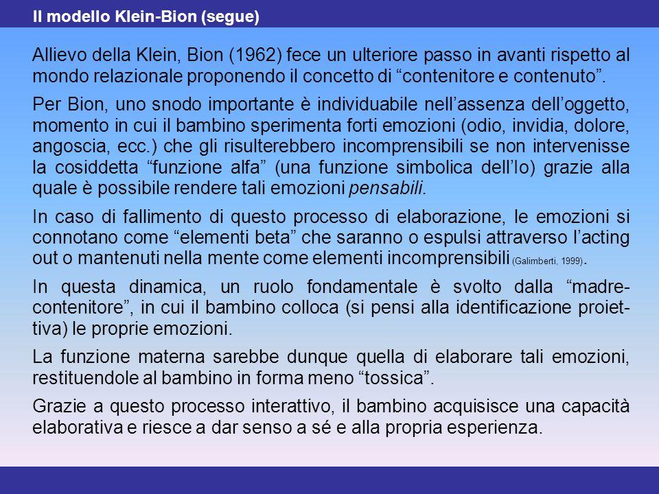 """14 Allievo della Klein, Bion (1962) fece un ulteriore passo in avanti rispetto al mondo relazionale proponendo il concetto di """"contenitore e contenuto"""