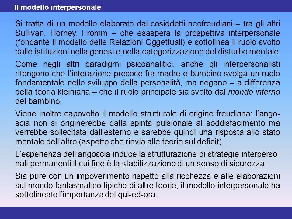 22 Si tratta di un modello elaborato dai cosiddetti neofreudiani – tra gli altri Sullivan, Horney, Fromm – che esaspera la prospettiva interpersonale