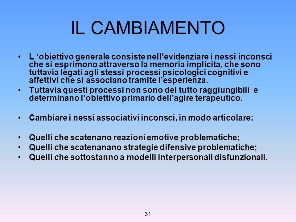 31 IL CAMBIAMENTO L 'obiettivo generale consiste nell'evidenziare i nessi inconsci che si esprimono attraverso la memoria implicita, che sono tuttavia