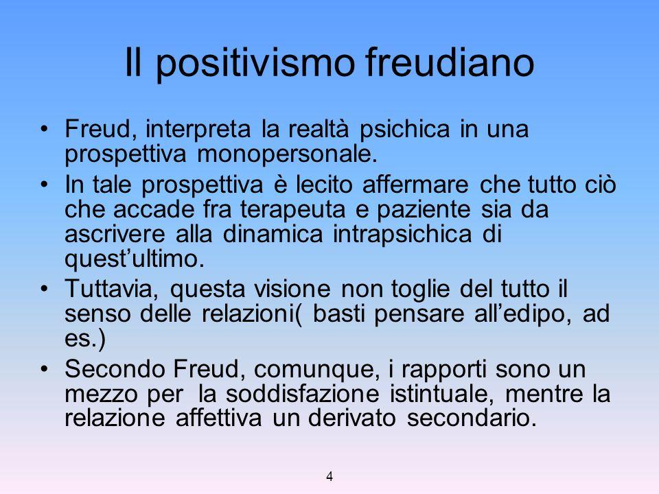 4 Il positivismo freudiano Freud, interpreta la realtà psichica in una prospettiva monopersonale. In tale prospettiva è lecito affermare che tutto ciò