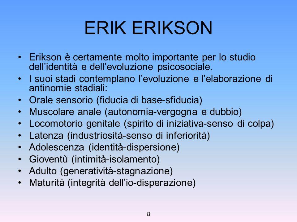 8 ERIK ERIKSON Erikson è certamente molto importante per lo studio dell'identità e dell'evoluzione psicosociale. I suoi stadi contemplano l'evoluzione