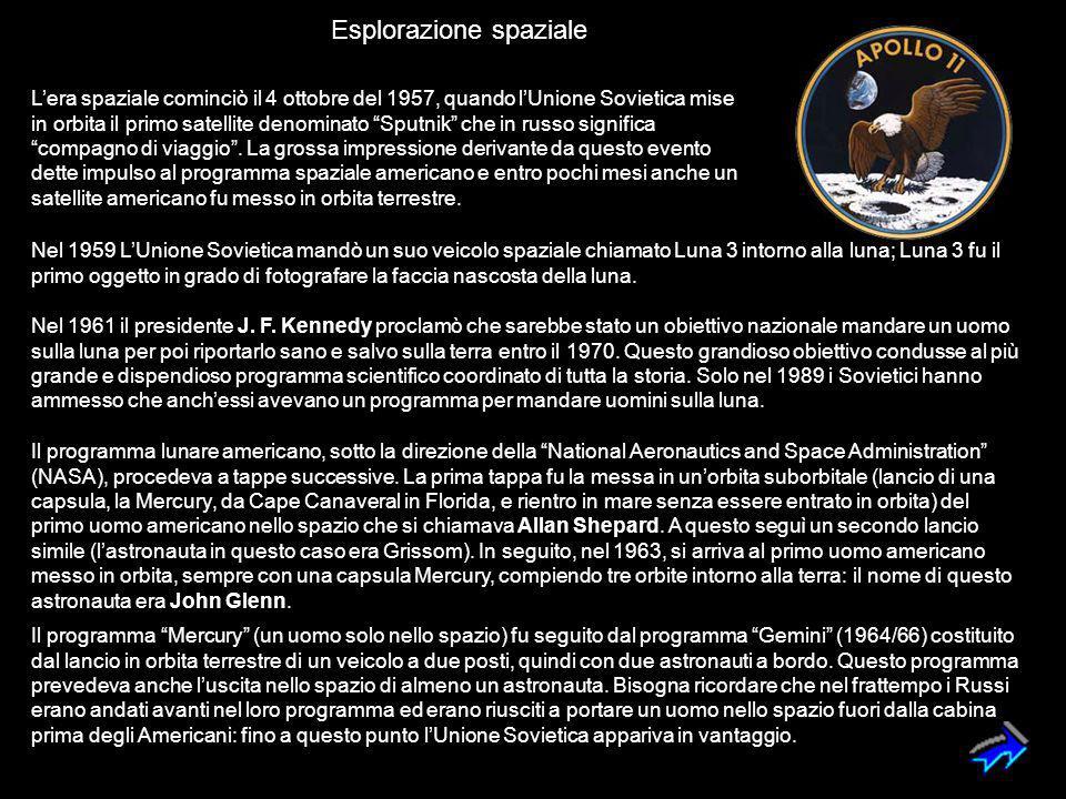 """L'era spaziale cominciò il 4 ottobre del 1957, quando l'Unione Sovietica mise in orbita il primo satellite denominato """"Sputnik"""" che in russo significa"""